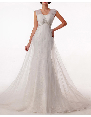 Elegantly Sheath Tulle Over Lace Wedding Dresses with Beaded and Rhinestone