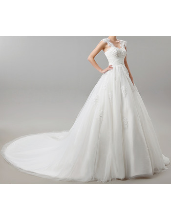 Tailored A-Line Wide Straps Cathedral Train Appliques Beaded Satin Tulle Wedding Dresses with Crisscross Ruched Waist