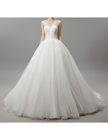 Dramatic Ball Gown Illusion Neckline Organza Wedding Dresses with Applique Beaded Bodice