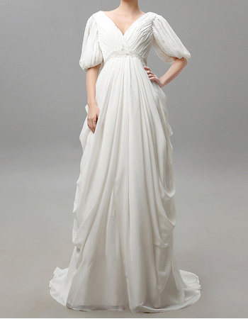 Victorian V-Neck Chiffon Wedding Dresses with Half Balloon Sleeves and Cascade Skirt