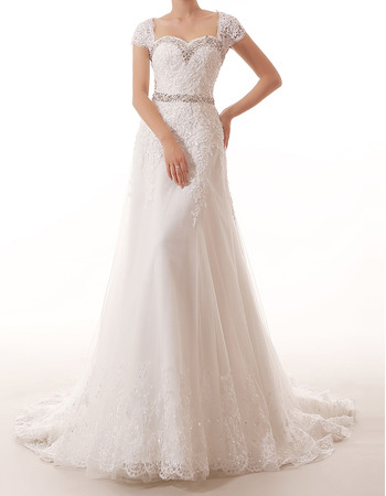 Elegance Cap Sleeves Applique Tulle Wedding Dresses with Beaded Waist and Sweetheart Neck