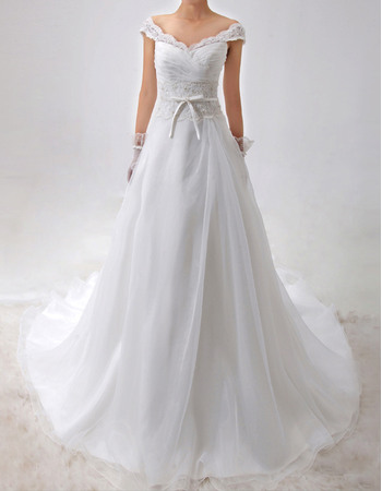 Graceful Off-the-shoulder Organza Wedding Dresses with Appliques Beaded Waist