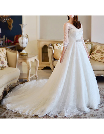 Elegance A-Line Illusion Neckline Tulle Over Lace Wedding Dresses with 3/4 Length Sleeves