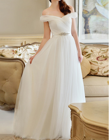 Affordable Simple Off-the-shoulder Full Length Pleated Tulle Wedding Dresses