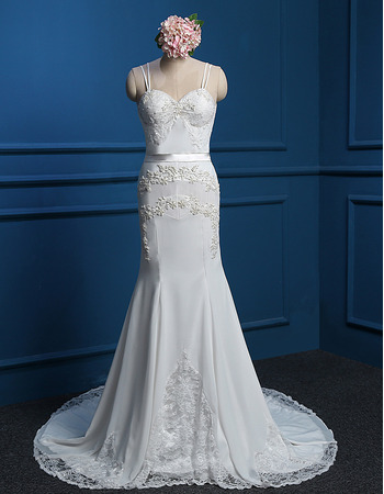 Custom Trumpet Spaghetti Straps Court Train Chiffon Wedding Dresses