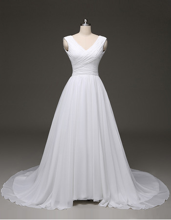Discount V-Neck Draping At Bust Court Train Chiffon Wedding Dresses with Beaded Detail