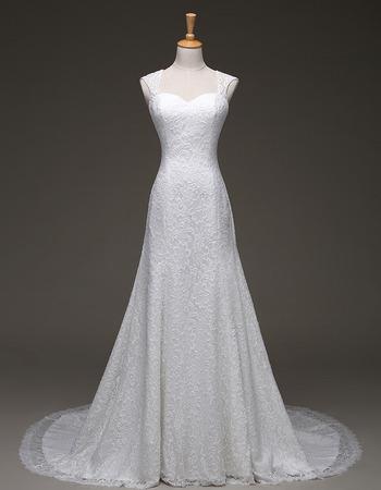 Custom Elegant A-Line Sweetheart Sweep Train Lace Wedding Dresses