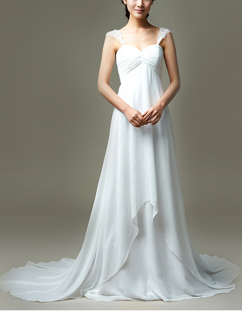 Simple Empire Wide Straps Chiffon Wedding Dresses with Layered Skirt and Pleated Bust
