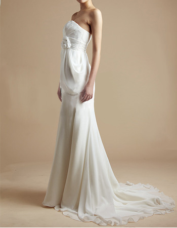 Understated Empire Sheath Strapless Brush Train Chiffon Summer Beach Wedding Dresses with Hand-made Flowers