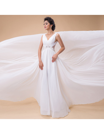 Top Style A-Line V-Neck Chapel Train Chiffon Wedding Dresses