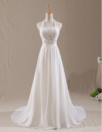 Discount Beaded Appliques Halter Court Train Chiffon Pleated Wedding Dresses