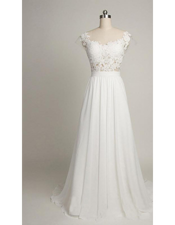 Sexy Deep V-back Sweep Train Chiffon Wedding Dresses with Applique Bodice