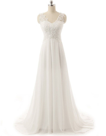 Graceful A-Line Sweep Train Chiffon Wedding Dresses with Applique Beaded Bodice