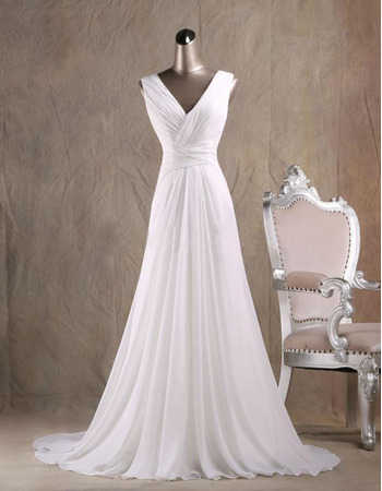 Dramatic Open Back V-Neck Court Train Chiffon Wedding Dresses with Beadings Fringe