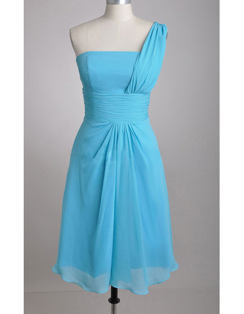 Discount Simple One Shoulder Knee Length Chiffon Bridesmaid Dresses with Ruching Waist