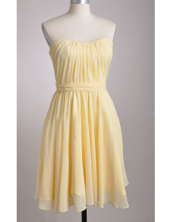 New Arrival Simple Sweetheart Knee Length Chiffon Pleated Bodice and Skirt Bridesmaid Dresses