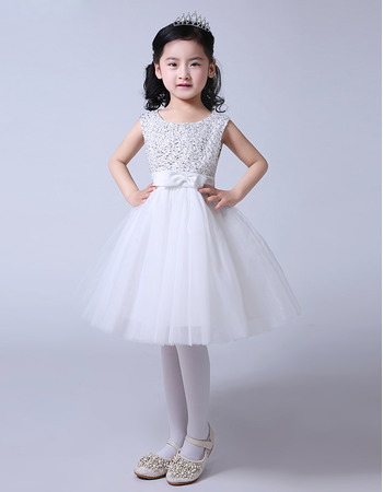 Pretty Beaded A-Line Knee Length Satin Tulle Beaded Flower Girl Dresses with Bow