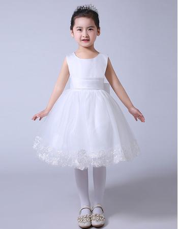 Custom Ball Gown Knee Length Organza Satin Bow Flower Girl Dresses/ Custom White First Communion Dresses