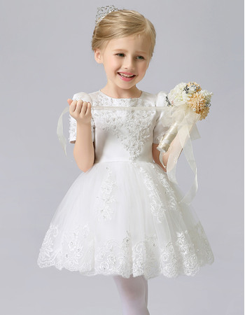 Couture Cute Beaded Appliques Tulle Satin Short First Communion Dresses with Short Sleeves