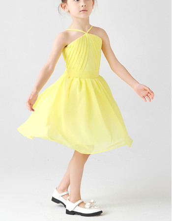 Inexpensive Couture Spaghetti Straps Knee Length Ruching Chiffon Little Girls Easter Dresses