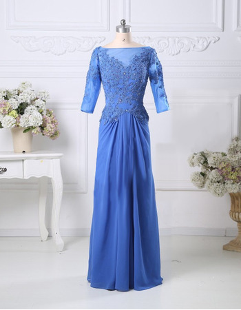 Classic Beading Appliques Chiffon Mother Dresses with 3/4 Length Sleeves