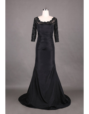 2016 New Style Trumpet Black Mother Dresses with 3/4 Lace Sleeves