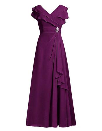 Modest V-Neck Floor Length Chiffon Mother of the Bride/ Groom Dresses
