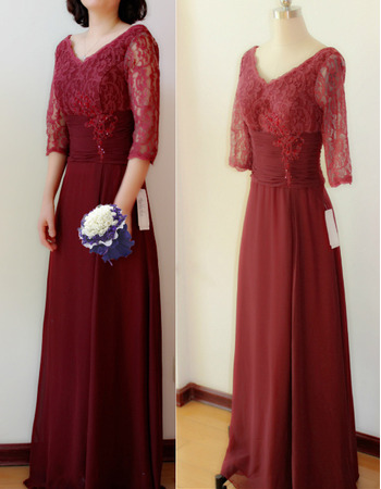 Elegant Double V-Neck Full Length Lace Chiffon Mother of The Bride Dresses with Half Sleeves