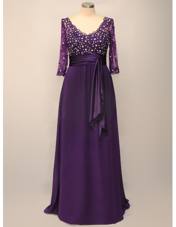 Luxury Beaded Appliques V-Neck Long Chiffon Plus Size Mother Dresses for Wedding with 3/4 Length Sleeves