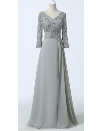 Elegant Beaded Crystal Lace Chiffon Mother Dresses for Party with Long Sleeves