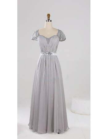 Stylish Sweetheart Pleated Chiffon Mother Dresses with Cap Sleeves/ Full Length Lace Back Groom Mother Dresses for Wedding Party