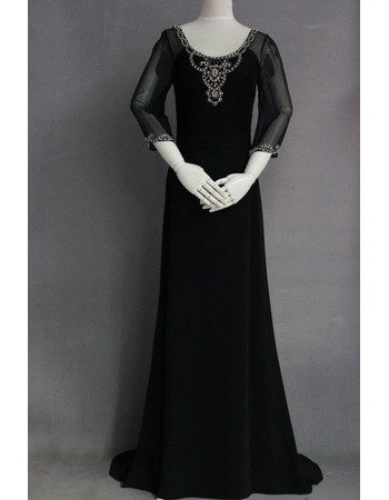 Enchanting Beading Embellished Low Back Chiffon Mother Dresses for Party with 3/4 Length Sleeves
