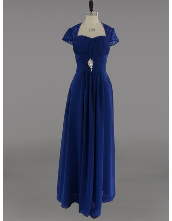 Floor Length Chiffon Mother Dresses with Short Sleeves