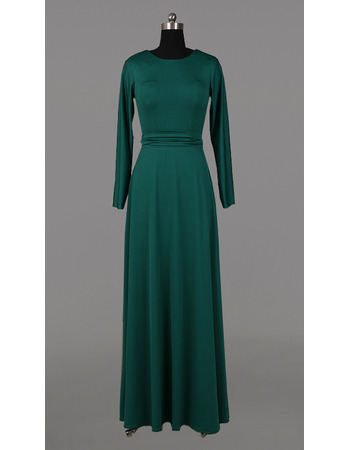 Vintage Simple Full Length Mother Dresses for Party with Long Sleeves and Sashes
