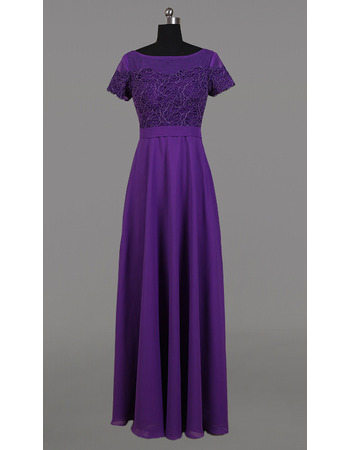 Long Chiffon Embroidery Mother Dresses with Short Sleeves
