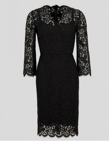 Modest Column Knee Length Lace Black Mother Dresses with 3/4 Long Sleeves