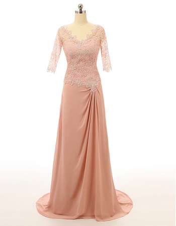 Perfect V-Neck Lace Chiffon Formal Mother Dresses for Party with 3/4 Long Sleeves