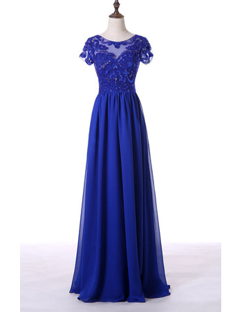 luxury Beaded Appliques Bodice Pleated Chiffon Mother Dresses with Short Sleeves