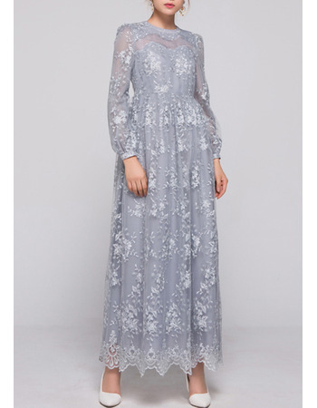 Elegant Crew Neck Ankle Length Lace Plus Size Mother Dresses with Long Sleeves
