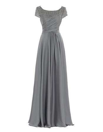 Sophisticated Beaded Embroidered Top Floor Length Pleated Mother Dresses for Party with Cap Sleeves