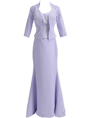 Affordable Mermaid Floor Length Satin Mother Dresses with Jackets