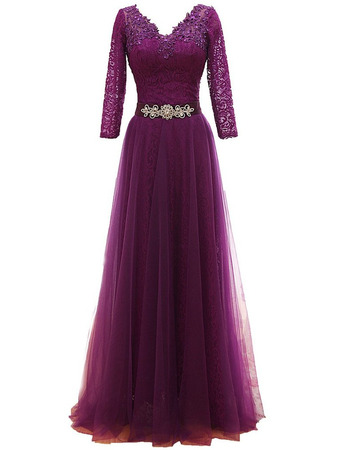 Perfect V-Neck Tulle Over Lace Mother Dresses for Party with 3/4 Length Sleeves
