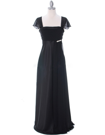 Custom Empire Square Neck Black Chiffon Mother Dresses for Party with Cap Sleeves