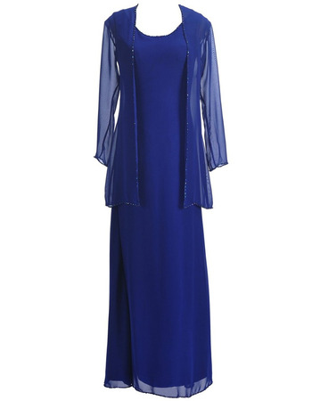 Discount Simple Sheath Tea Length Chiffon Mother Dresses with Jackets