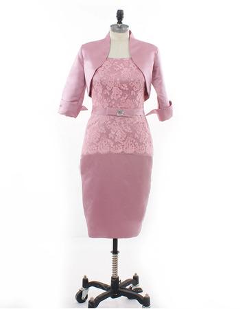 Inexpensive Elegant Column Knee Length Satin Mother Dresses with Jackets