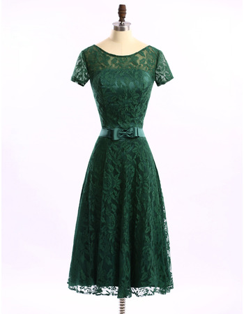 Simple Cheap A-Line Low Back Tea Length Lace Mother Dresses for Party with Short Sleeves