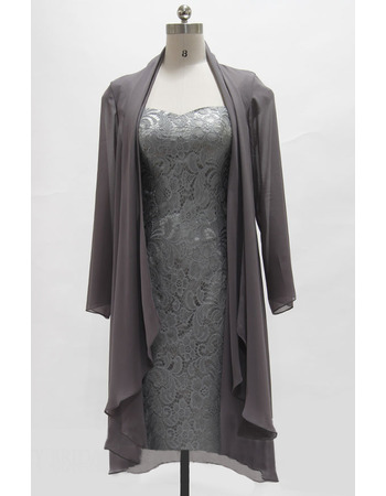 Elegant Column Square Neck Knee Length Cap Sleeves Lace Mother of The Groom Dresses/of the Bride Dresses with Long Chiffon Jacke