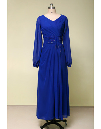 Affordable V-Neck Ankle Length Draped Plus Size Chiffon Mother Dresses for Party with Long Sleeves