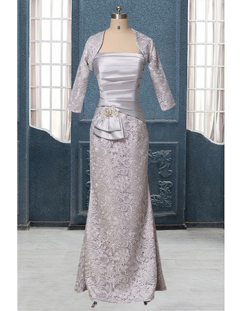 Stylish Sheath Wide Straps Long Length Mother of The Groom Dresses/of the Bride Dresses with Lace Jackets