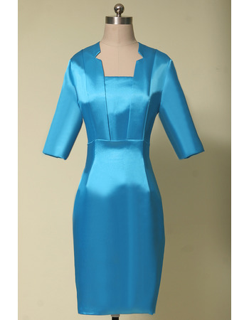 Unique Column Square Neck Knee Length Satin Mother Dresses for Party with 3/4 Long Sleeves